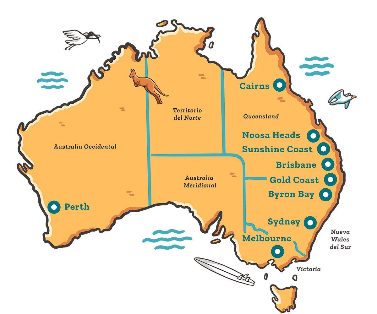 Mapa Australia Ilustrado Dingoos