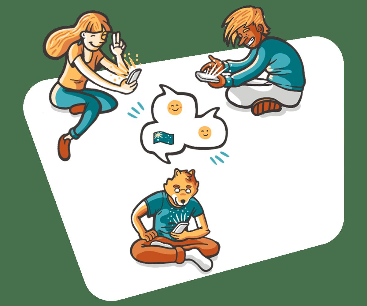 Contacto con estudiantes en Australia