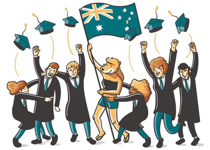 Students in Australia celebrating
