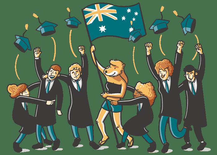 Estudiantes en Australia celebrando