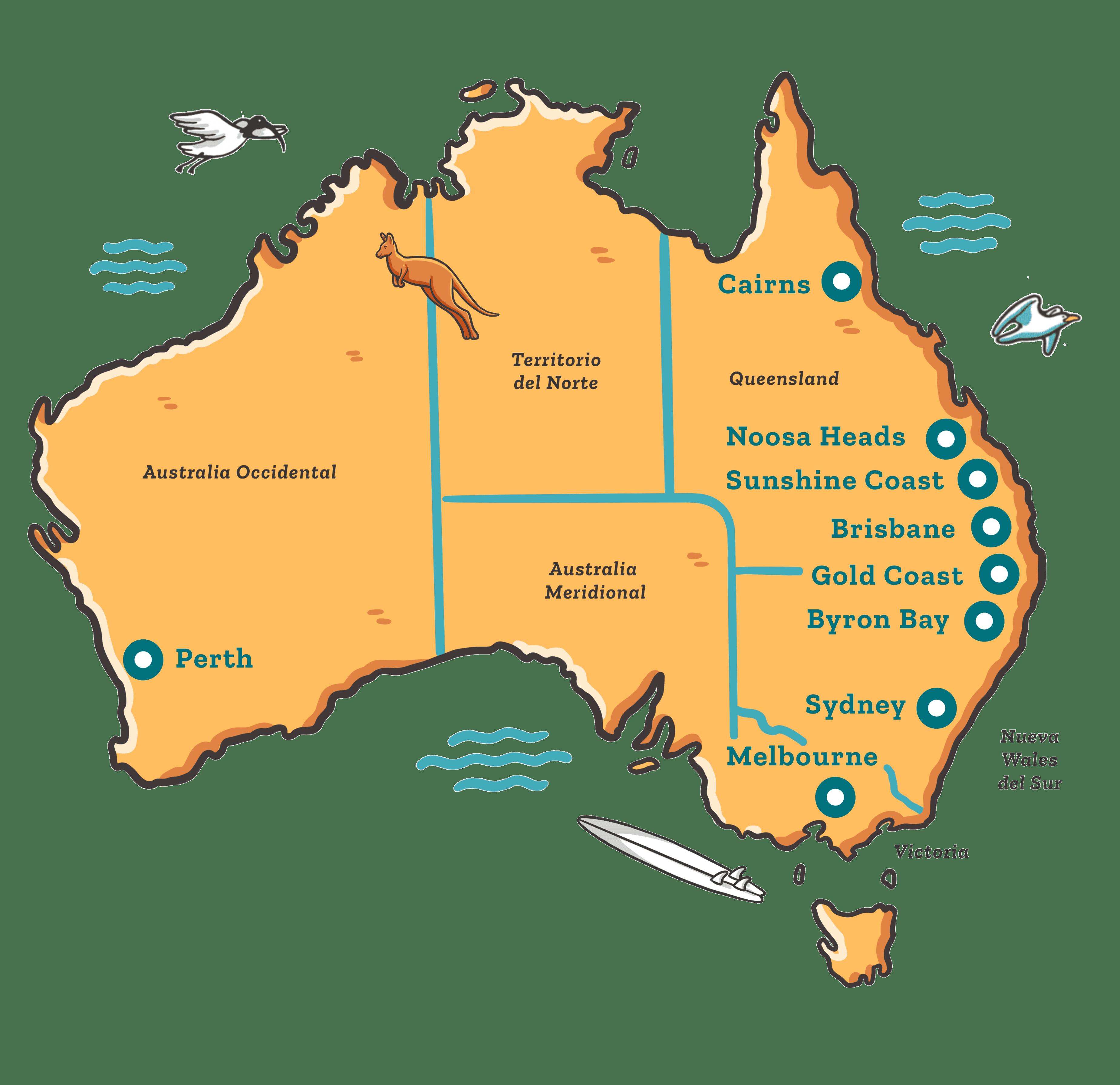 ciudades australia mapa ilustrado